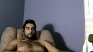 Bearded dude with hair on chest jerks off in amateur video